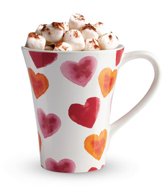 Teleflora's Lovely Hearts Bouquet - afteruse mug with hot chocolate and marshmallows