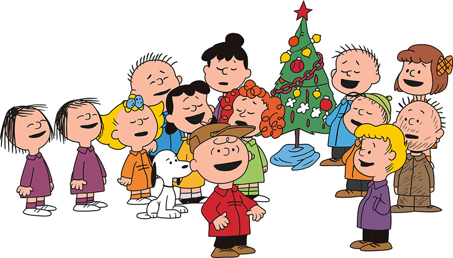 Charlie Brown and Peanuts caroling